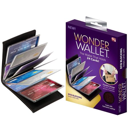 Wonder Wallet - Amazing Slim Genuine Leather Wallet w/RFID Protection, As Seen On TV