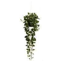 Nearly Natural Artificial Philodendron Hanging Basket Silk Plant, Green