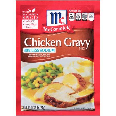 (4 Pack) McCormick 30% Less Sodium Chicken Gravy Mix, 0.87