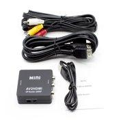 RCA (AV Composite) to HDMI Converter (Analog to Digital Converter) - Converts Analog Red-White-Yellow Signals to HDMI from STB/VHS/VCR/Camera/DVD/Nintendo, PAL/NTSC to TV/VCR/DVD/Car - AV2HDMI Black