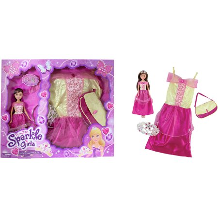 Funville sparkle girlz doll with dress up, princess, brown - Hair Dress Up