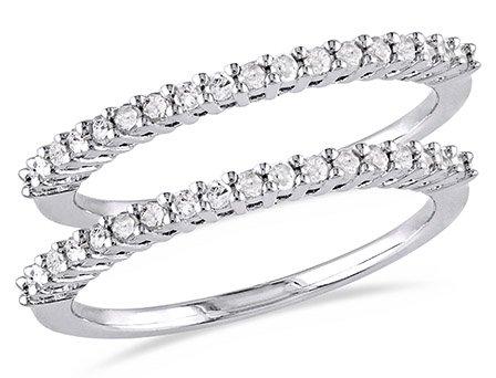Miabella 1/3 Carat T.W. Diamond Sterling Silver 2-piece Wedding Band Set