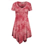 8a10d0f3f7dbc MBJ WT1063 Womens Short Sleeve All Over Tie-Dye Tunic Top XXL CORAL