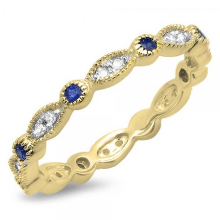 Dazzlingrock Collection 10K Round Blue Sapphire and White Diamond Anniversary Wedding Band Stackable Ring, Yellow Gold, Size 5