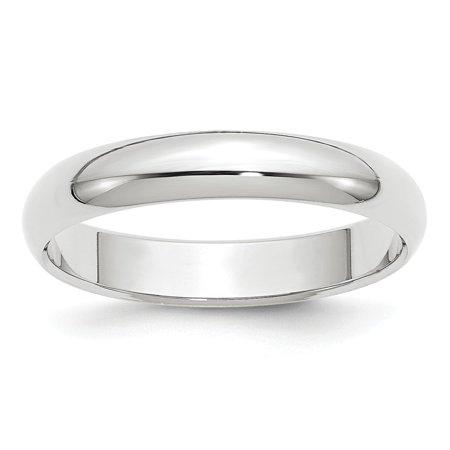 Roy Rose Jewelry 14K White Gold 4mm Half-Round Wedding Band Ring Size 6