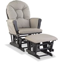 Storkcraft Swirl Hoop Glider and Ottoman Gray w Taupe Cushions