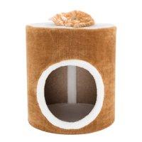 "Cat Condo Barrel Single Hole 14"" diameter 15"" high brown and white"