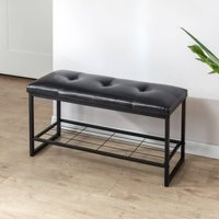 Zinus Faux Leather 36 Inch Tufted Bench with Storage Shelf