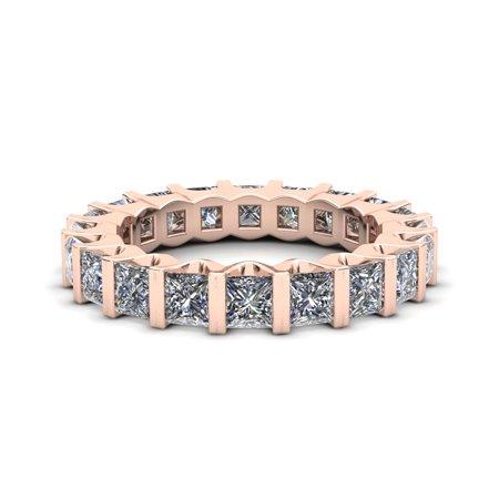 Natural 3.35Ct Princess Cut Diamond Bezel Set Women's Anniversary Wedding Eternity Band Ring Solid 18k Rose Gold H SI2 ()