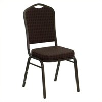 """Flash Furniture HERCULES Series Crown Back Stacking Banquet Chair with Brown Patterned Fabric and 2.5"""" Thick Seat, Gold Vein Frame"""