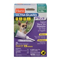 Hartz UltraGuard Plus Flea and Tick Drops for Small Dogs, 3 Monthly Treatments