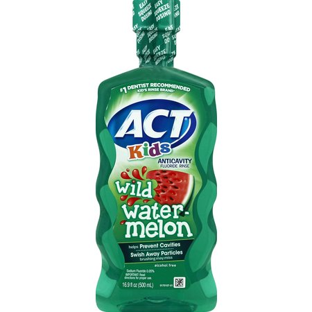 (2 pack) Act Kids Wild Watermelon Anti-Cavity Flouride Mouthwash,