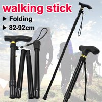 Yaheetech Adjustable Folding Walking Stick Aluminium Easy Light Weight Support Aid Cane (Black)