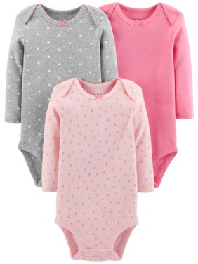 Basic Long Sleeve Bodysuits, 3-pack (Baby Girls)
