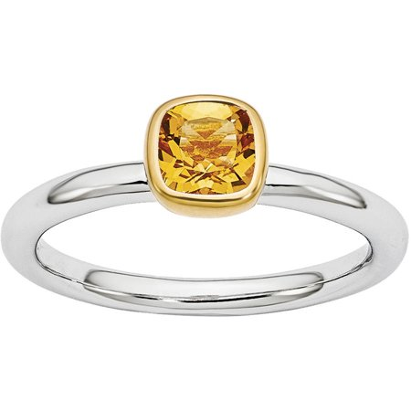 Citrine Sterling Silver with Gold-Plate Ring - Ring Eraser