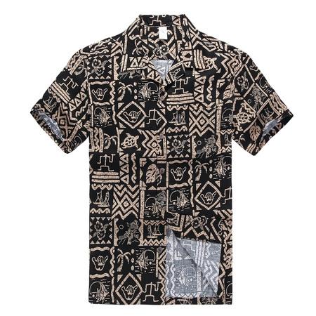 Hawaiian Shirt Aloha Shirt in Black Hawaiian Hang -