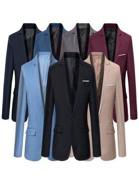 Stylish Men's Casual Slim Fit Formal Single Button Suit Blazer Coat Jacket Tops