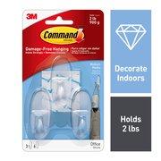 Command Hooks, Clear, Medium, 3 Hooks, 6 Strips/Pack