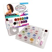 Custom Body Art 12 Color Deluxe Glitter Tattoo Set Kit 30 Stencil Design Shimmer