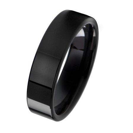 Gemini Plain Flat Comfort Fit Black Titanium Wedding Ring width 6mm US Size 9.5 Valentine's Day Gift (6mm Platinum Plain Wedding Band)