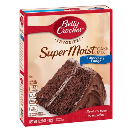 (2 pack) Betty Crocker Super Moist Chocolate Fudge Cake Mix, 15.25 oz