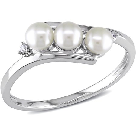 - 3.5-4mm White Cultured Freshwater Pearl and Diamond-Accent 10kt White Gold Bypass Ring