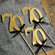 70th Birthday Centerpieces In Gold And Black 70 Party Decorations Anniversary Centerpiece