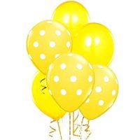 Polka Dot Balloons 11in Premium Yellow and Yellow with All-Over print white Dots Pkg/50