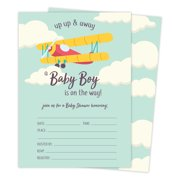 da3426436bf Airplane 1 Baby Shower Invitations Invite Cards (25 Count) With Envelopes    Seal Stickers