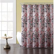 Paisley Print Fabric Shower Curtain Coral Taupe Gray White 72 X