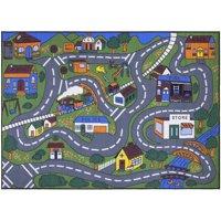 Ottomanson Jenny Grey Base Educational City Life Road Traffic Non-Slip Area Rugs For Kids