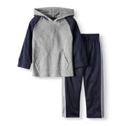 Long Sleeve Raglan Hoodie & Tricot Pants, 2pc Outfit Set (Toddler Boys)