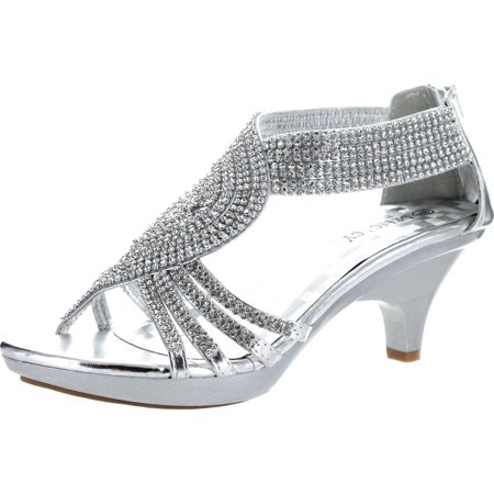 Delicacy Womens Angel-37a Open Toe Med Heel Wedding Dress Sandal Shoes