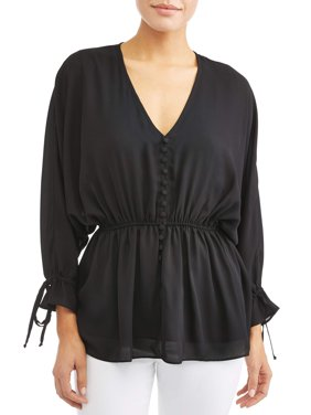 Denise V-Neck Button Front Cinched Blouse Women's