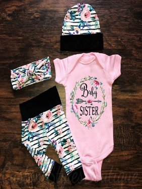 3Pcs Newborn Toddler Baby Girls Floral Tops Romper Pants Outfits Set Clothes
