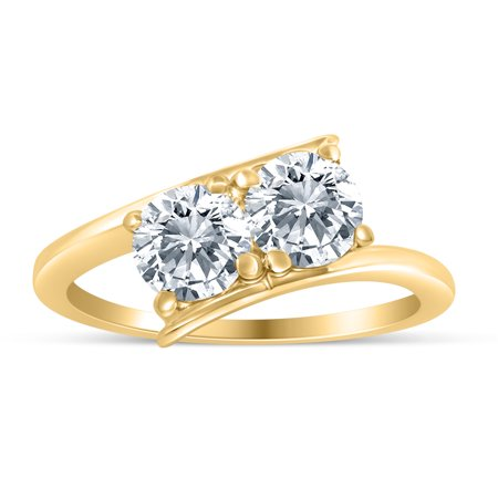 1.00ctw Diamond Two Stone Solitaire Engagement Ring in 14k  Yellow Gold 14k Two Tone Solitaire Mounting