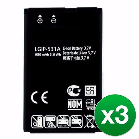 Replacement Battery For LG 450 T-Mobile Cell Phones - LGIP-531A (950mAh, 3.7V, Lithium Ion) - 3 Pack