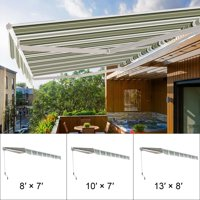 8' X 7' Manual Retractable Awning Outdoor Canopy Deck Door Sunshade Shelter