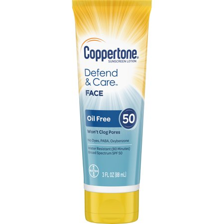 Coppertone Defend & Care Oil Free Sunscreen Face Lotion SPF 50 3