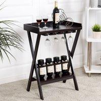Gymax Wood Wine Rack Storage Display Shelves Wine Bottle Storage w/Glass Hanger