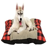 """Winter Plaid Tufted Plush Pet Bed, 27""""x36"""", Red"""