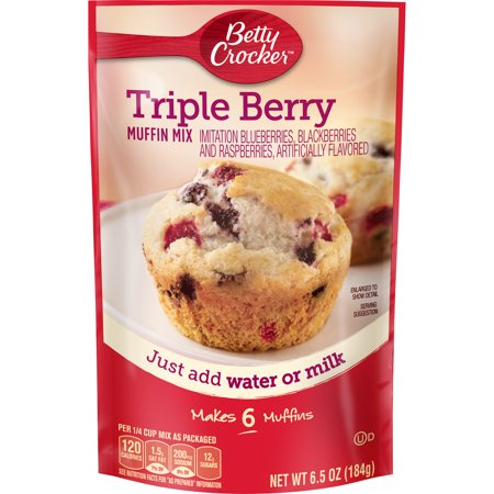 Whole Grain Muffin Mix ((3 Pack) Betty Crocker Triple Berry Muffin Mix, 6.5 oz Box )