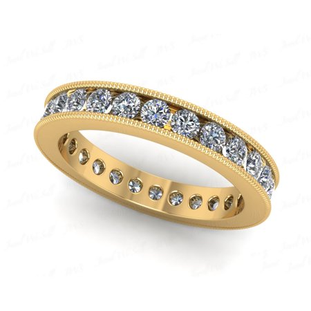 Natural 1.25Ct Round Cut Diamond Channel Set Milgrain Women