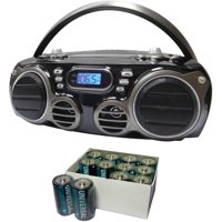 Sylvania SRCD682BT Bluetooth Portable CD Radio Boom Box with AM/FM Radio and UPG D5325/D5925 Super-Heavy-Duty Battery Value Box (D; 12-Pack)