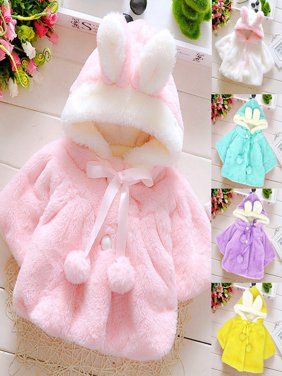 Girl12Queen Baby Girls Infant Rabbit Ear Hoodie Warm Coat Pom Pom Bowknot Winter Clothes