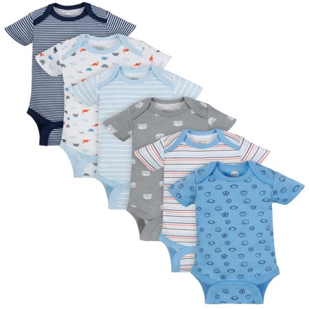 Wonder Nation Short Sleeve Bodysuits, 6pk (Baby - Baby Halloween Outfits 6-9 Months