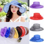 5122f138828 Women Ladies Summer Wide Brim Organza Hat Floppy Derby Beach Sun Foldable  Cap