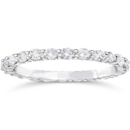 1 1/2ct 14k White Gold Diamond Women Eternity Anniversary Stackable Wedding (Eternity Anniversary Wedding Ring)