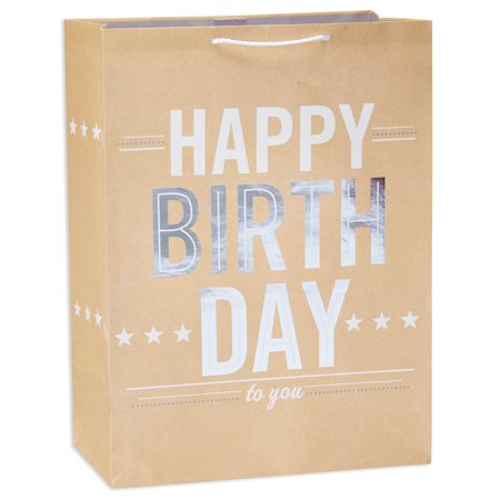 Linen Gift Bag - American Greetings Jumbo Happy Birthday Gift Bag with Foil