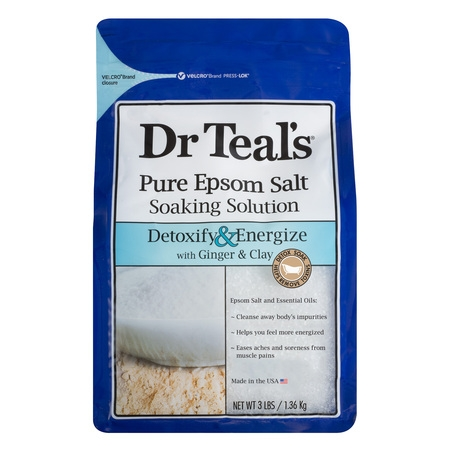 Dr Teal's Pure Epsom Salt Soaking Solution, Detoxify & Energize with Ginger & Clay, 3